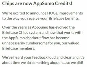 Briefcase chips redeemable as Appsumo credits
